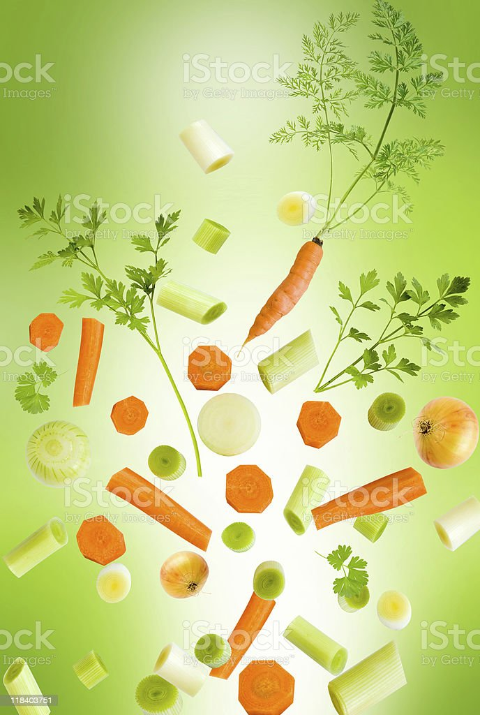 Assorted fresh vegetables falling royalty-free stock photo