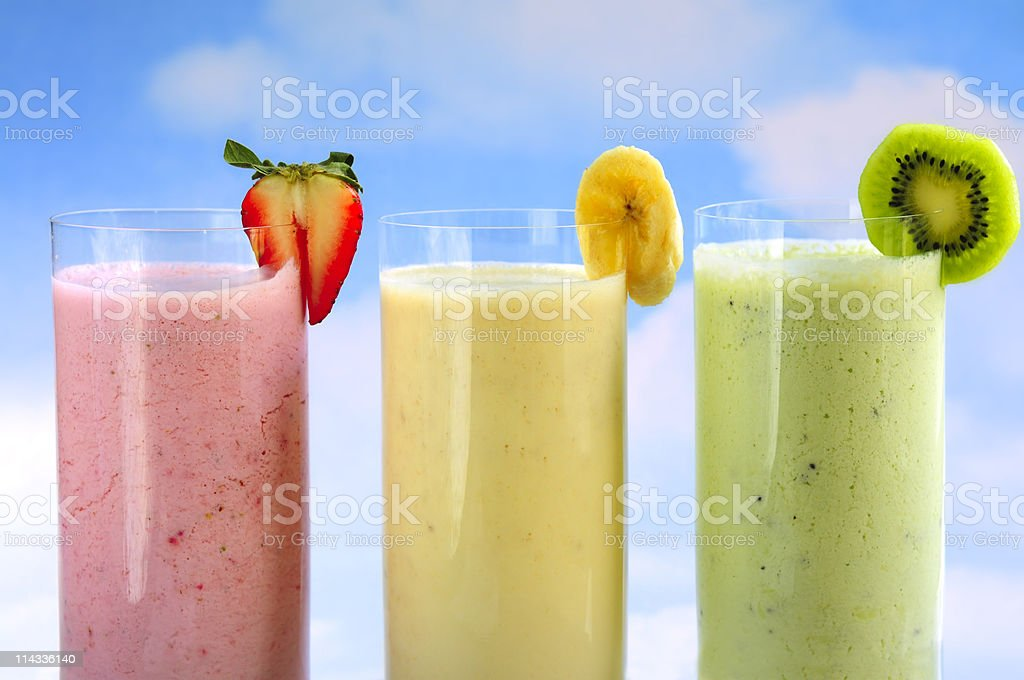 Assorted fruit smoothies royalty-free stock photo