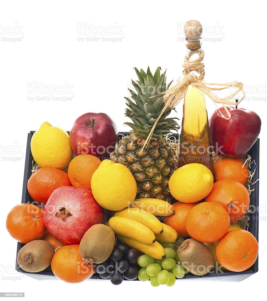 assorted fruits and bottle of wine stock photo
