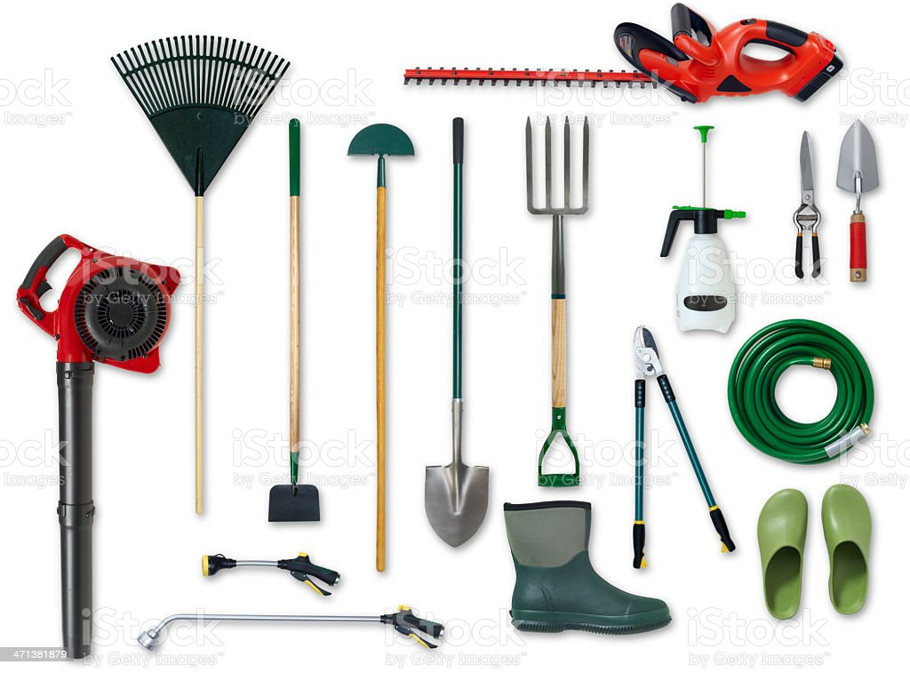 Assorted garden tools isolated on white background stock photo