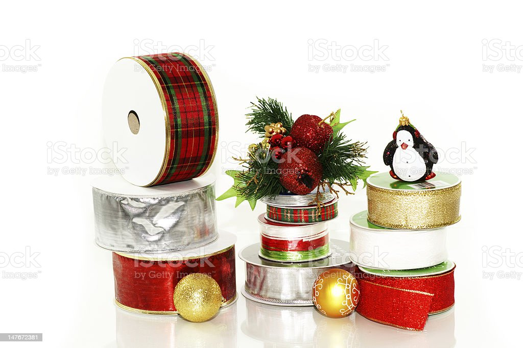 Assorted gift box ribbons and decorations stock photo