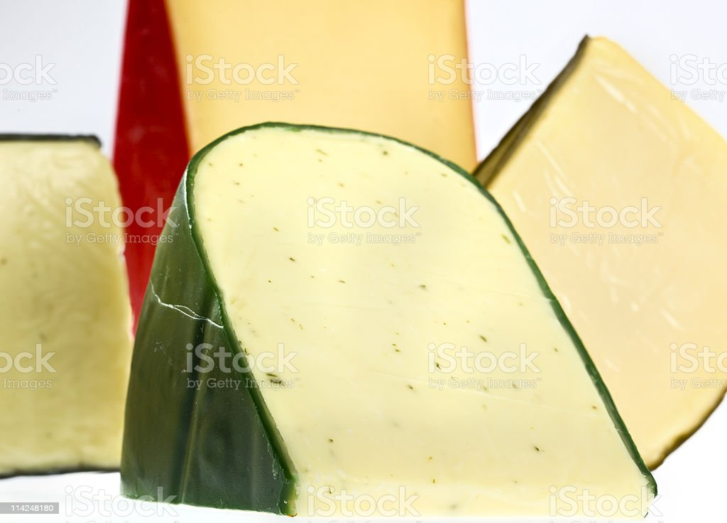 Assorted gouda cheeses stock photo