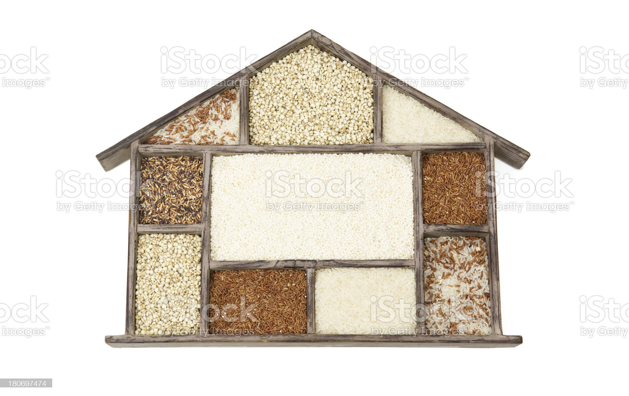 Assorted Grain in Wooden House Container royalty-free stock photo