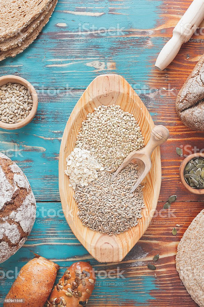 Assorted grains and bread stock photo
