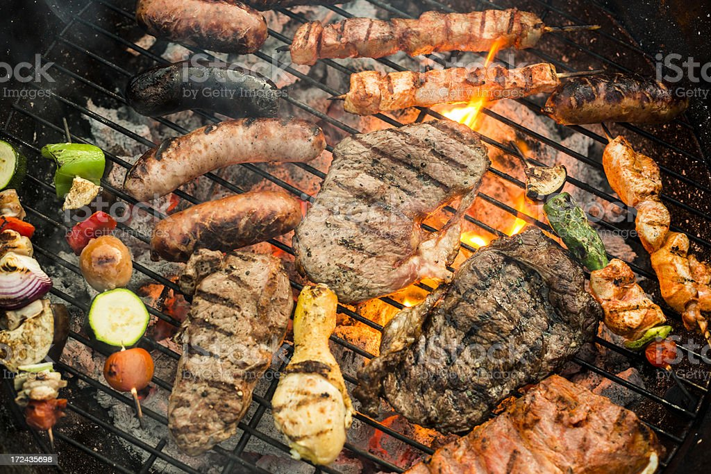 Assorted grilled food stock photo