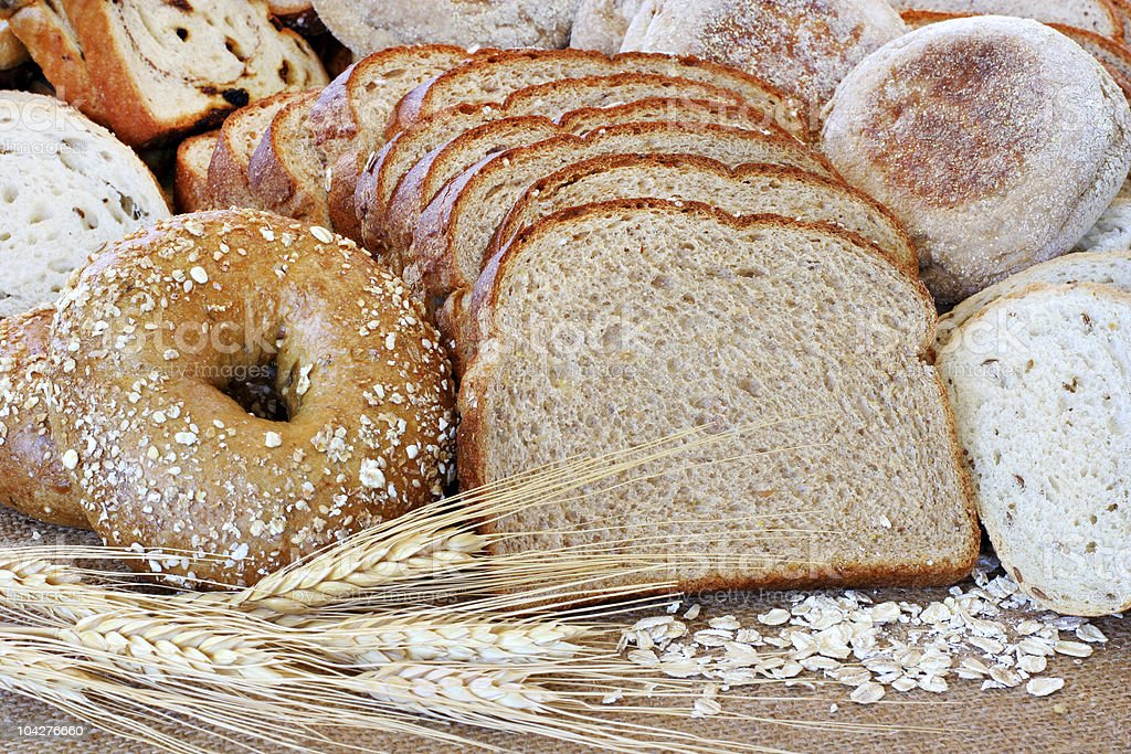 Assorted healthy whole grain breads and muffins royalty-free stock photo