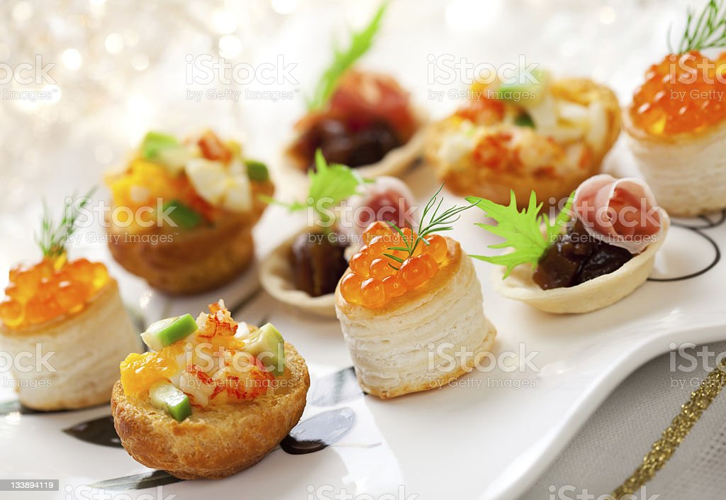 Assorted holiday  snacks stock photo