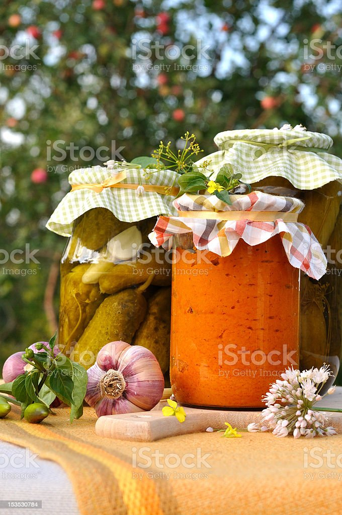 Assorted homemade preserves royalty-free stock photo