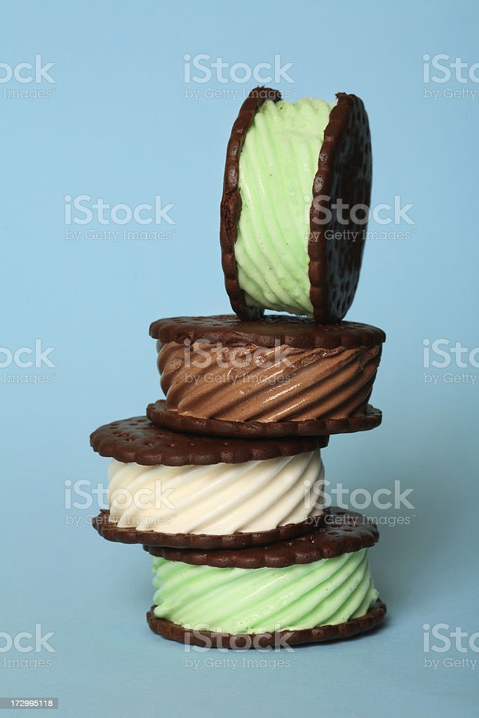 Assorted ice cream sandwich stock photo