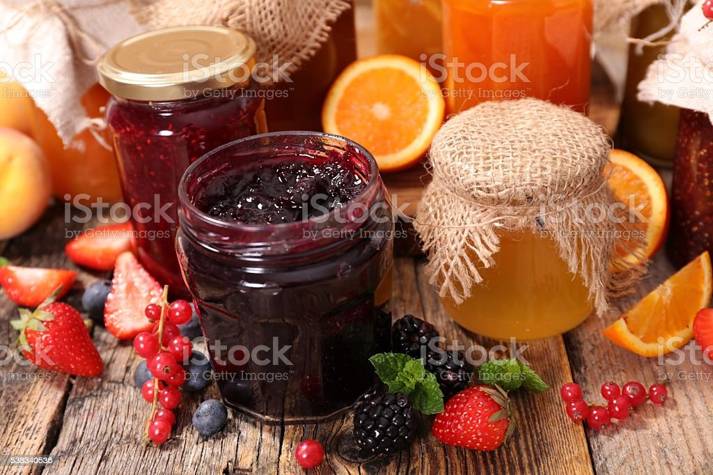 assorted jam stock photo