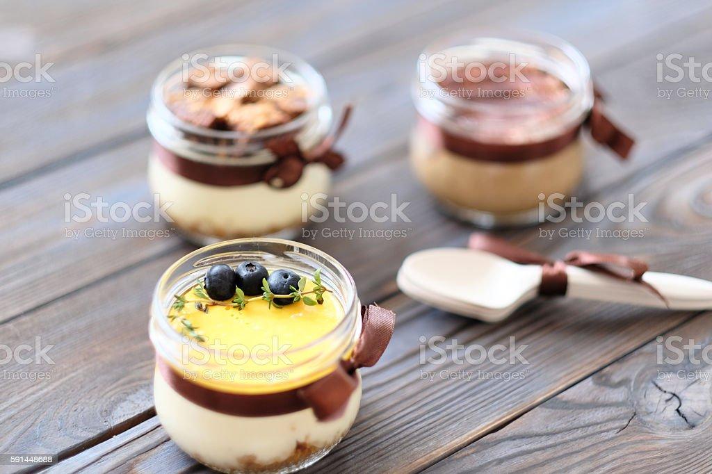 Assorted jar cakes stock photo