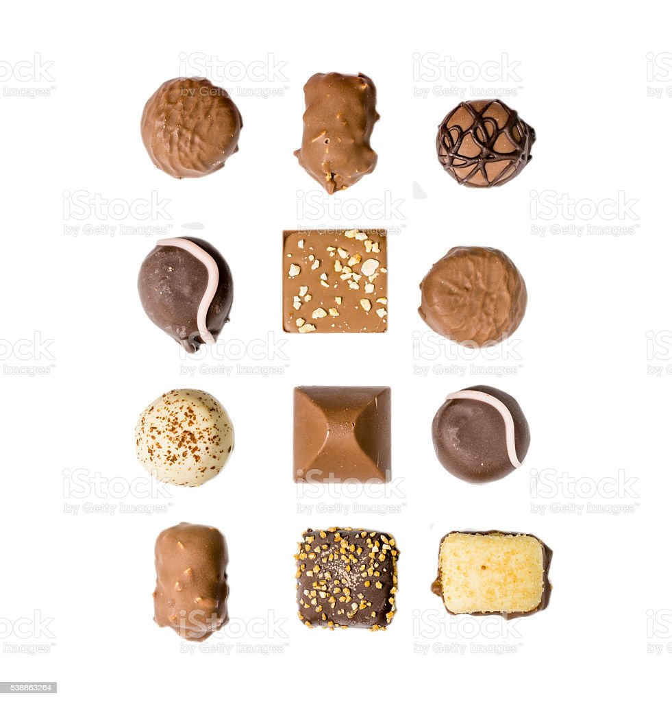 Assorted kind of chocolates royalty-free stock photo