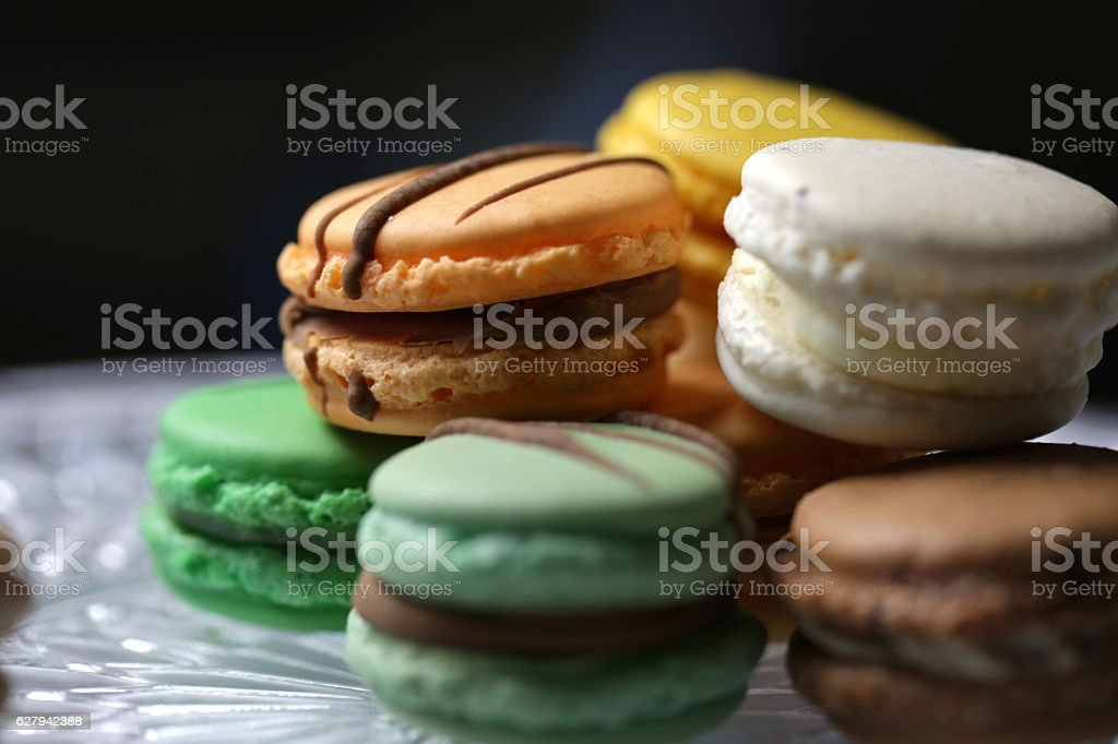 Assorted Macarons on a Dessert Tray stock photo
