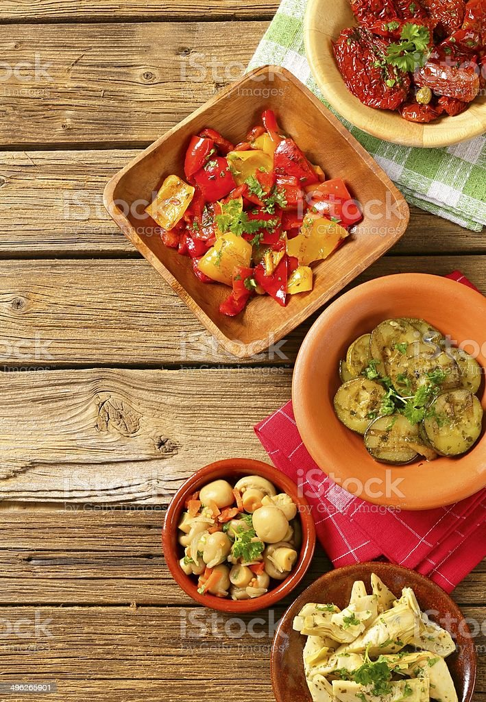 Assorted marinated vegetables stock photo