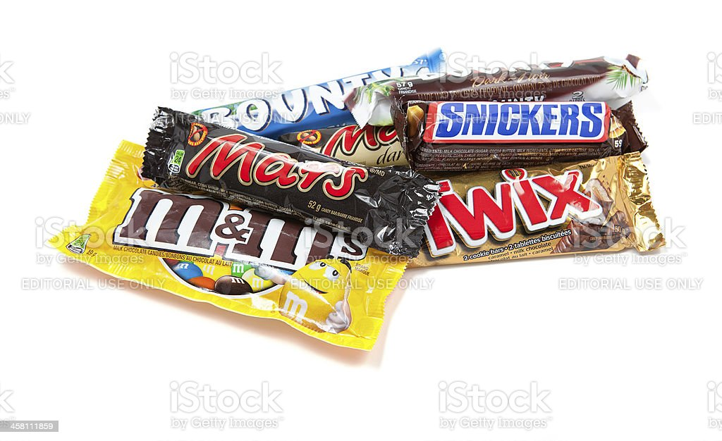 Assorted Mars Incorporated Chocolate Products stock photo