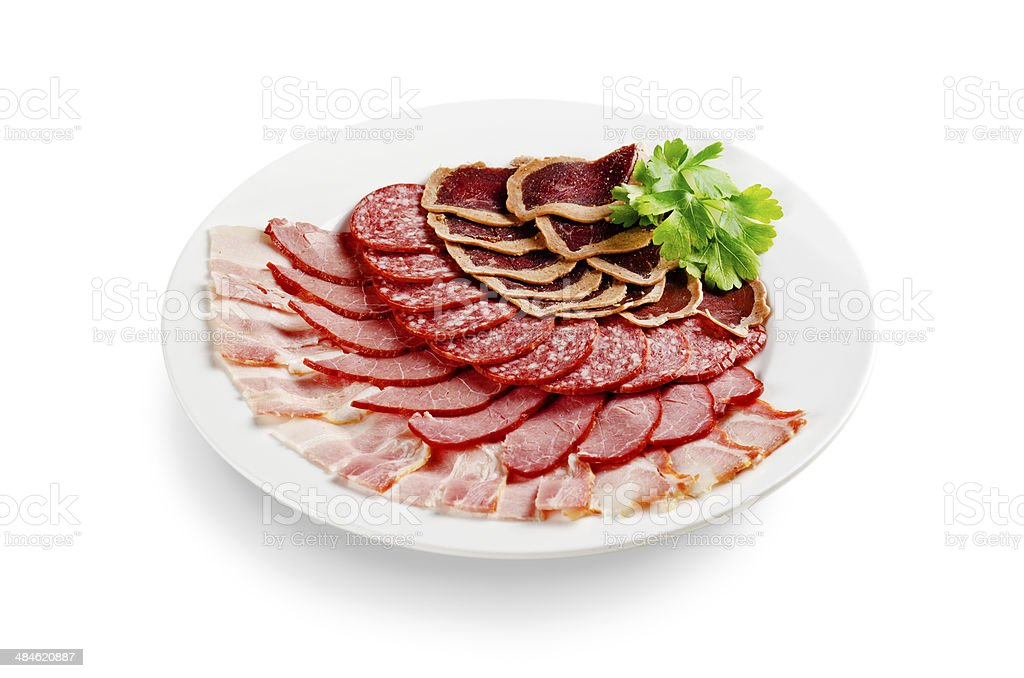 assorted meat isolated on white background royalty-free stock photo