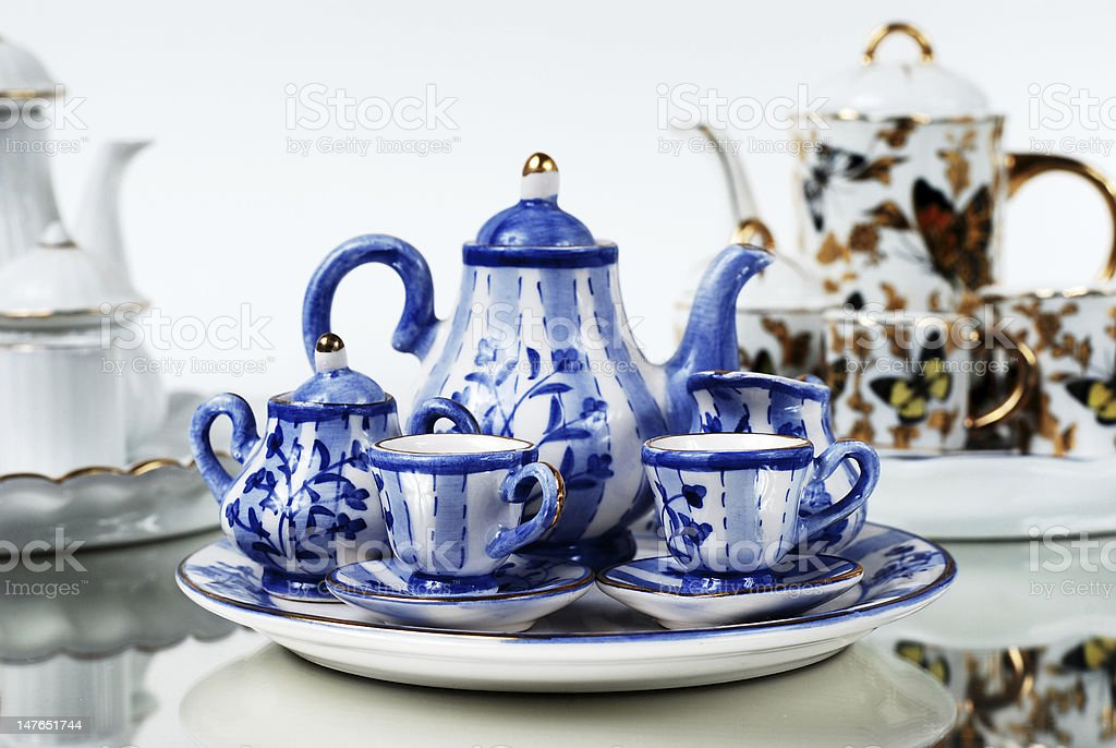 Assorted Miniature Tea Sets royalty-free stock photo