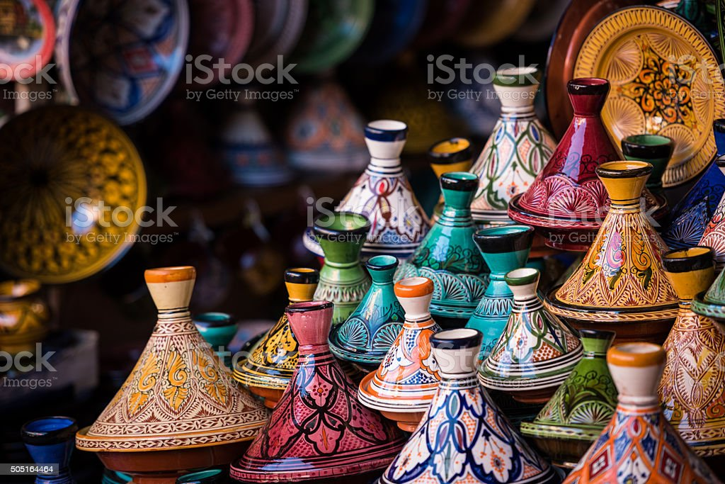 Assorted Moroccan tajines in a souk stock photo