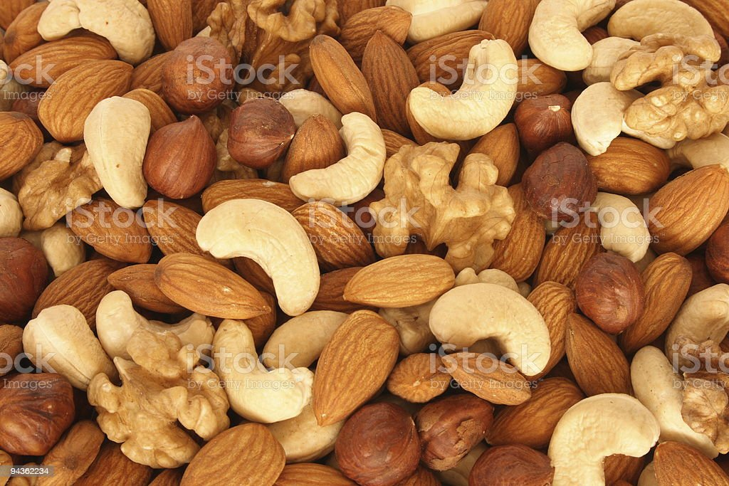 Assorted nuts close up royalty-free stock photo