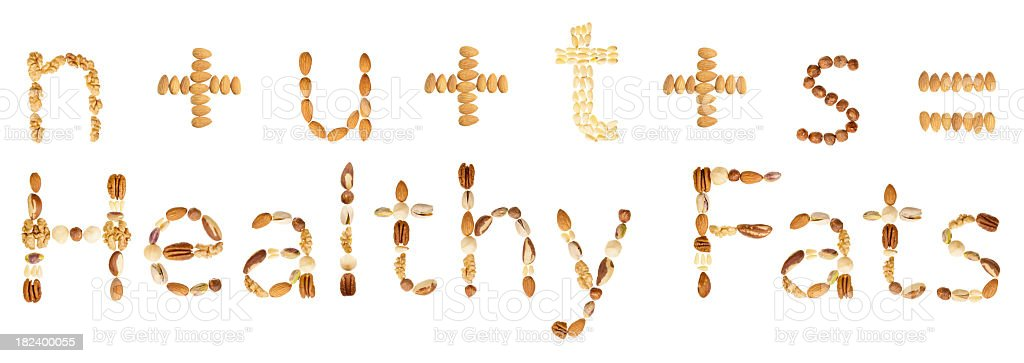 Assorted nuts form an equation royalty-free stock photo