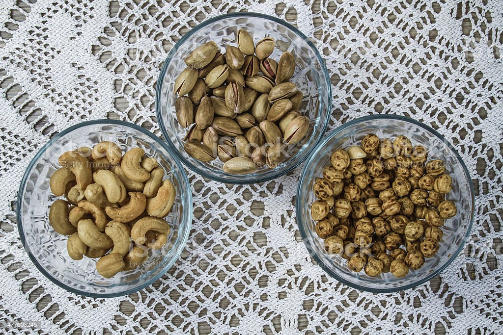 Assorted Nuts in Bowls royalty-free stock photo
