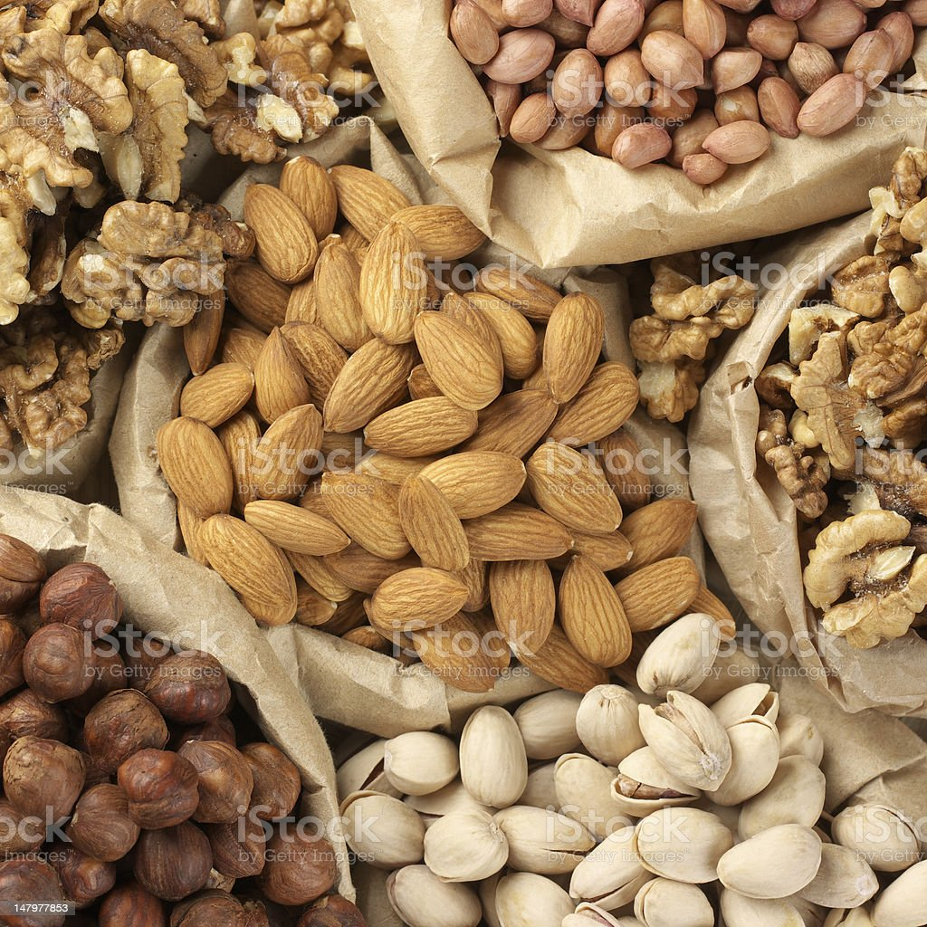 Assorted nuts stock photo