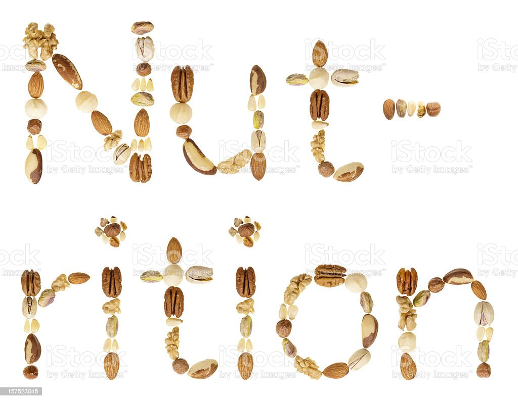 Assorted nuts spell the word Nut-rition stock photo