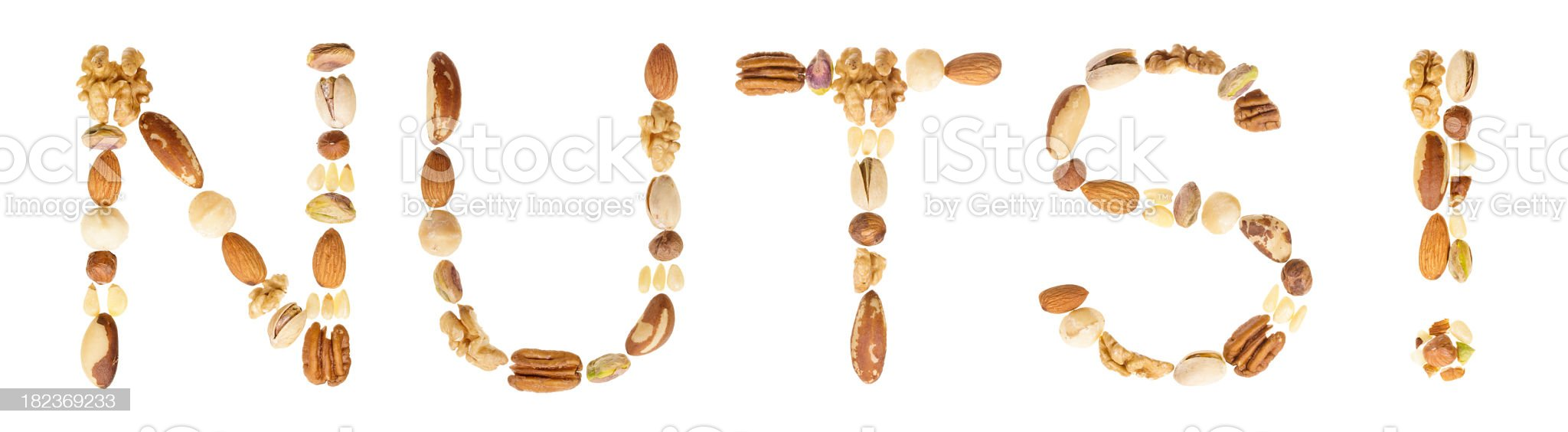 Assorted nuts spell the word royalty-free stock photo