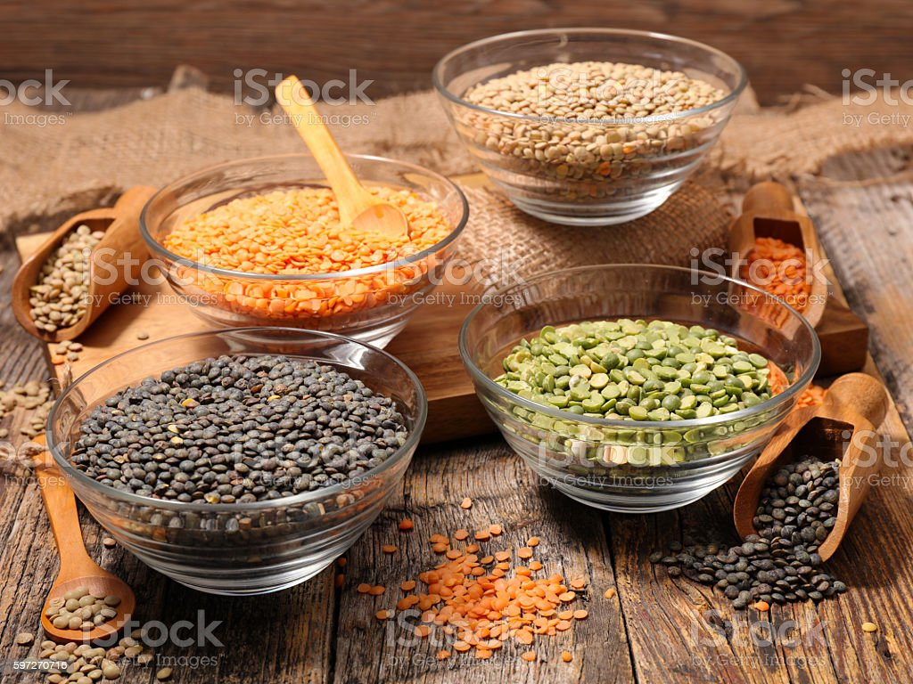 assorted of lentils, split pea stock photo