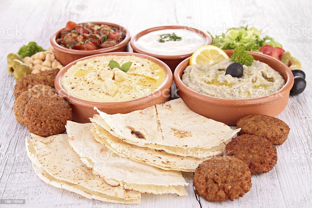 assorted of oriental food, mezze stock photo