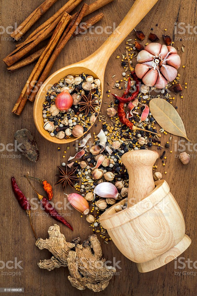 Assorted of spices  in wooden spoon  . stock photo