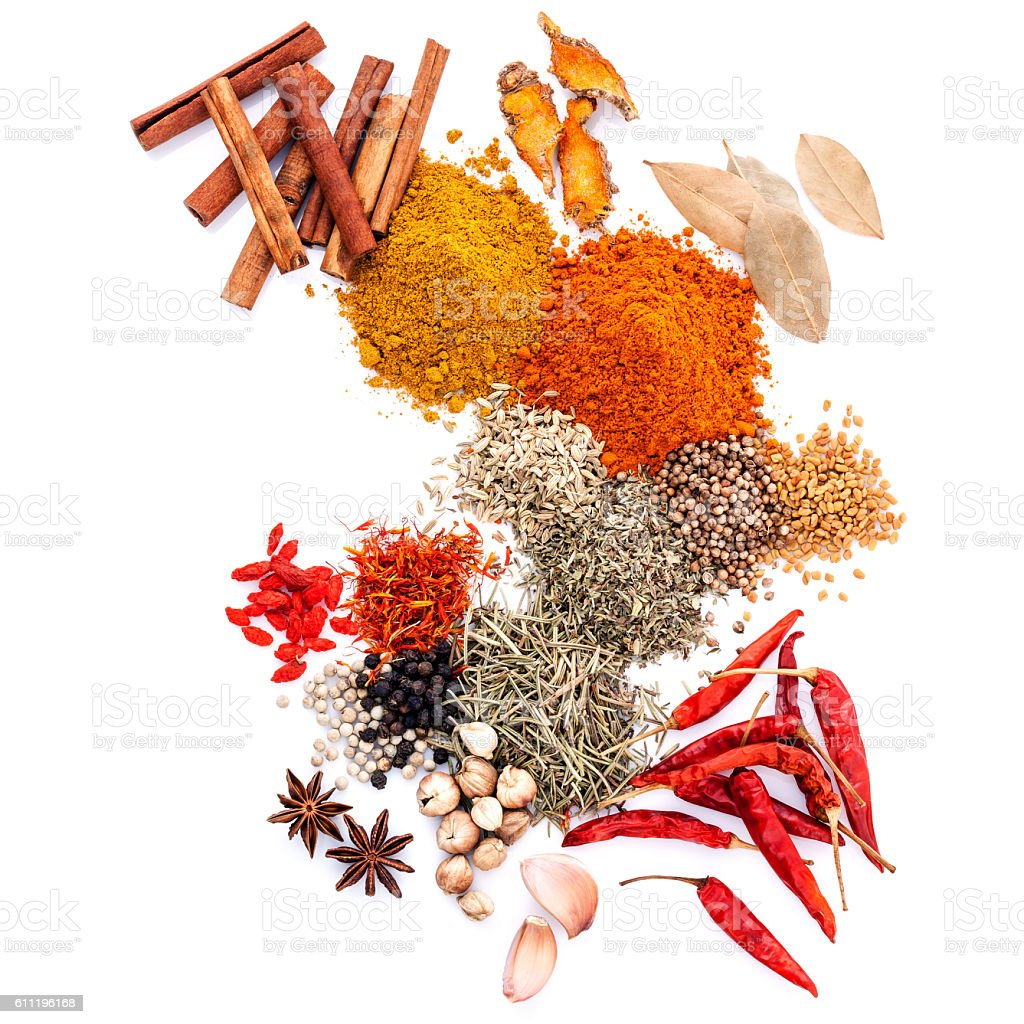 Assorted of spices . stock photo