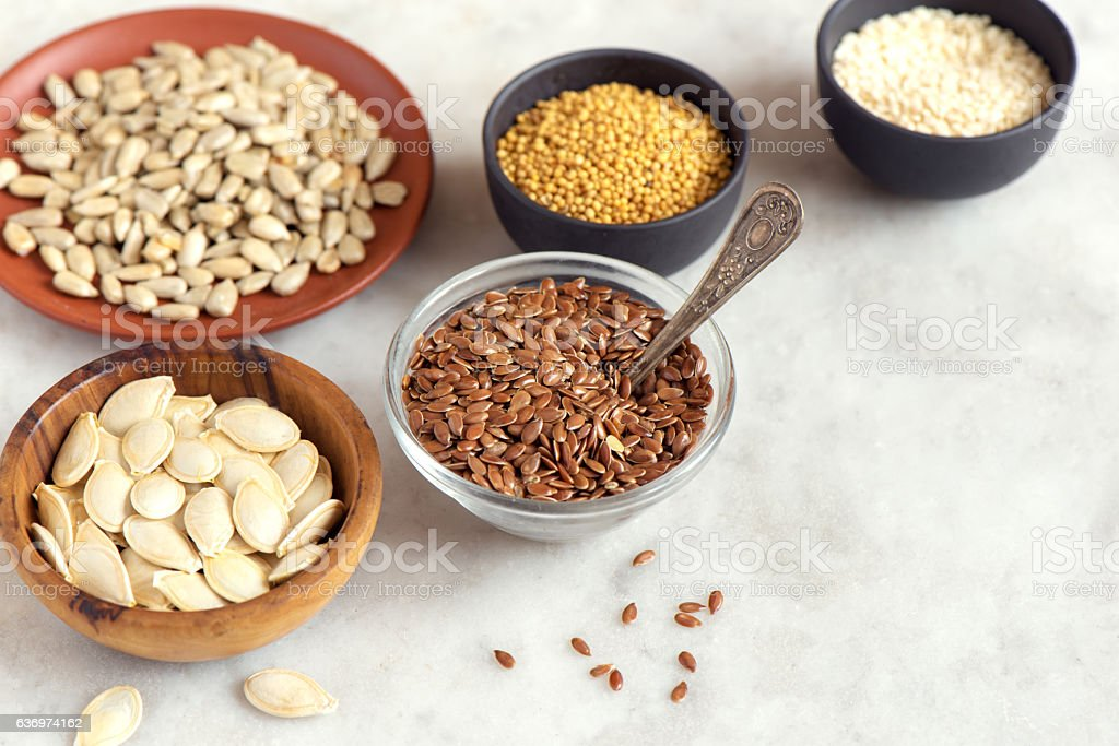 Assorted oil seeds stock photo