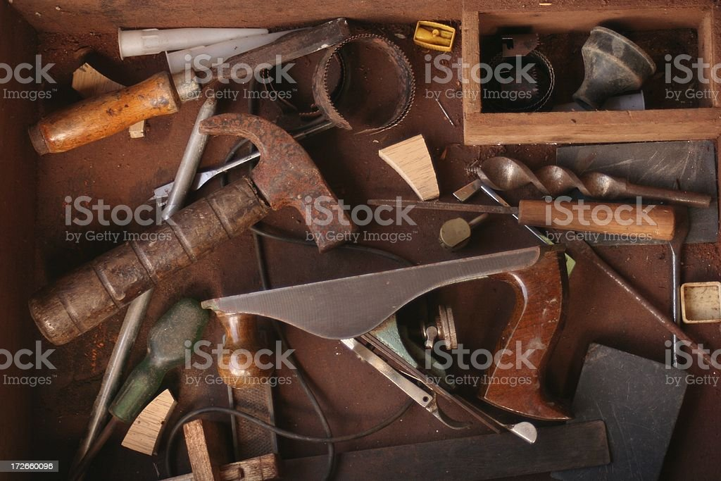 Assorted old hand tools stock photo