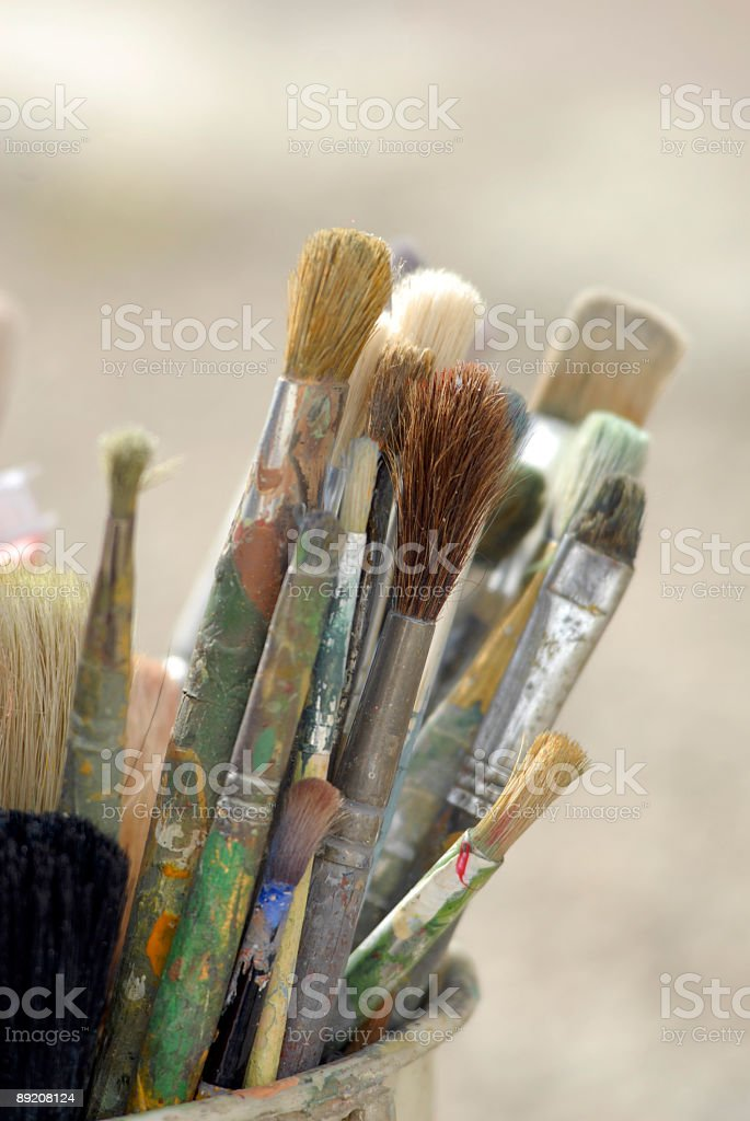 Assorted Paint Brushes - Use painting tools stock photo