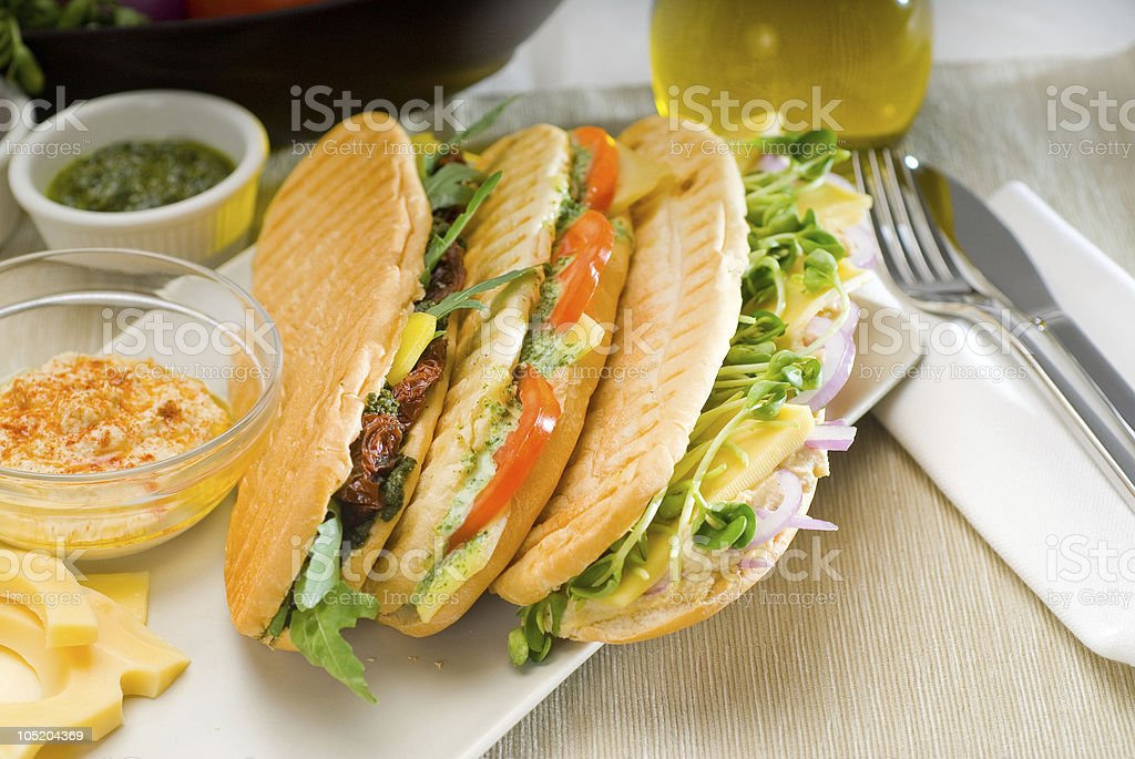 assorted panini sandwich royalty-free stock photo