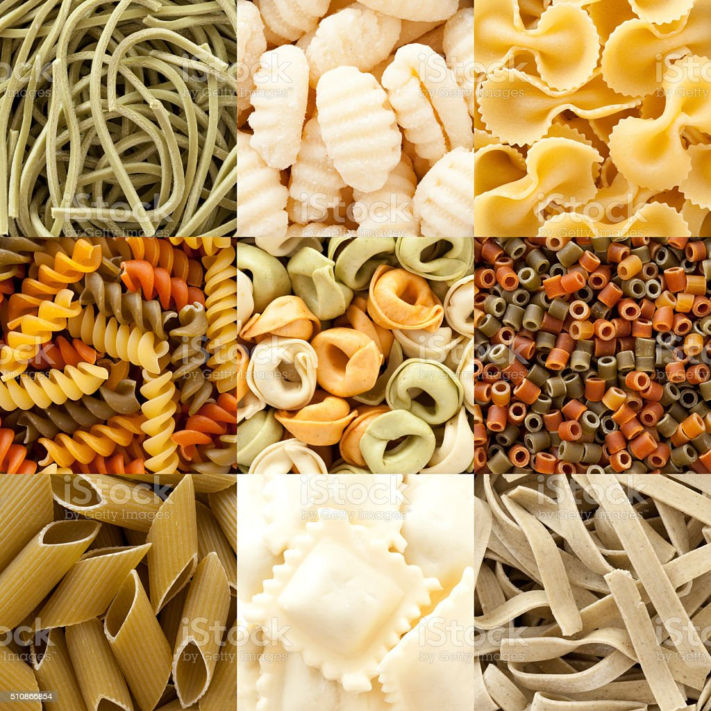 Assorted pasta composition stock photo