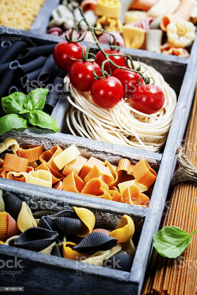 Assorted pastas royalty-free stock photo