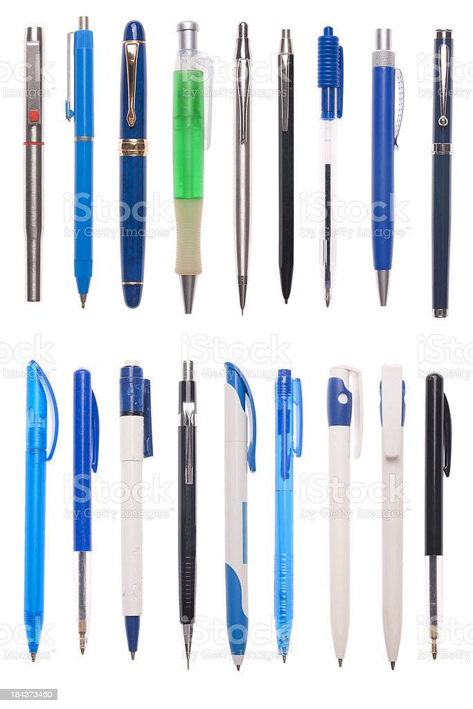 Assorted pens isolated on white stock photo