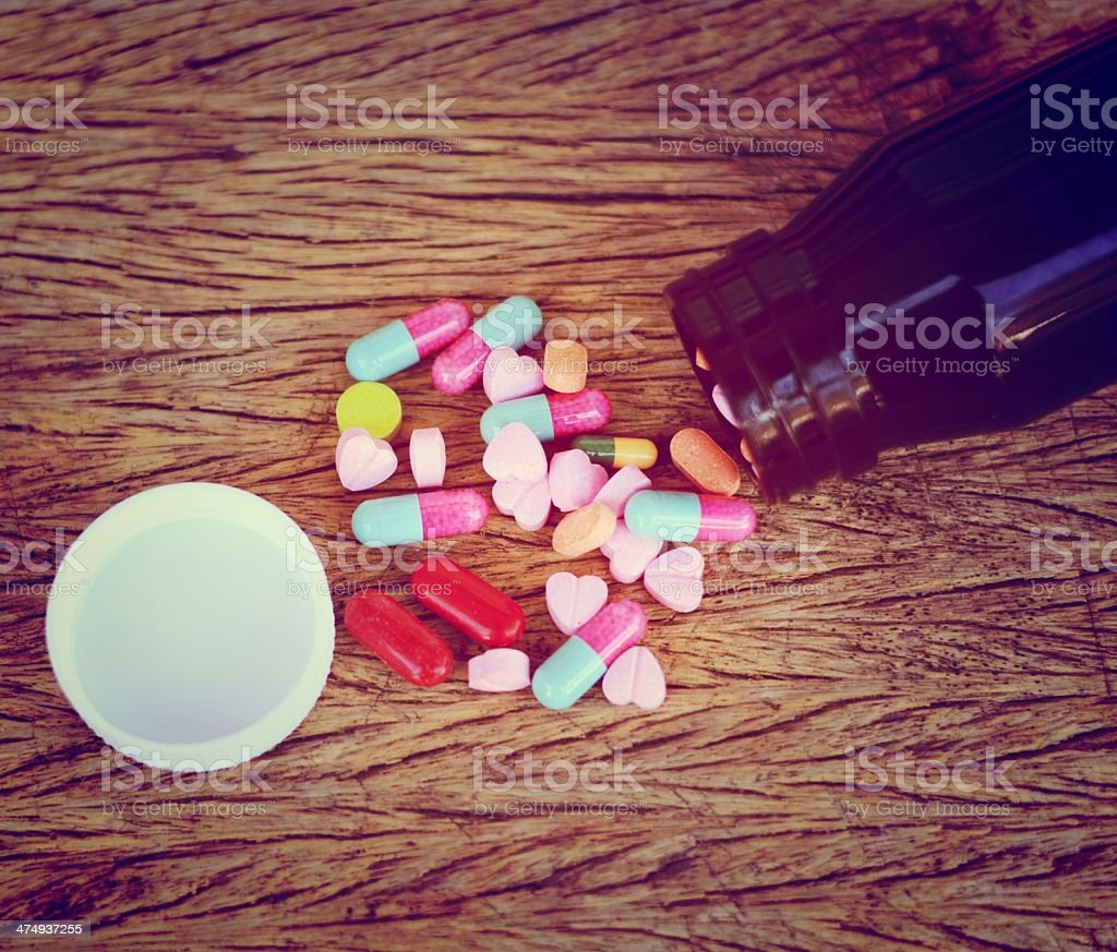 Assorted pills for health care stock photo
