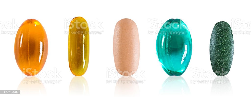 Assorted pills with clipping path stock photo