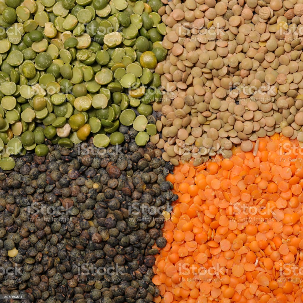 assorted raw lentils and split pea stock photo