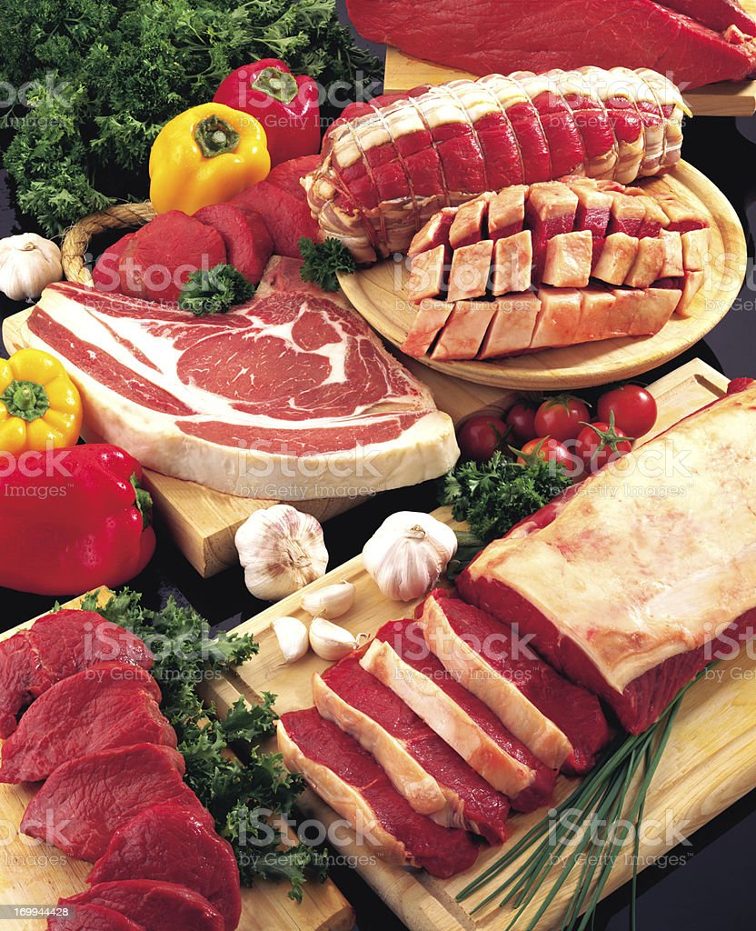 Assorted Raw Meat stock photo