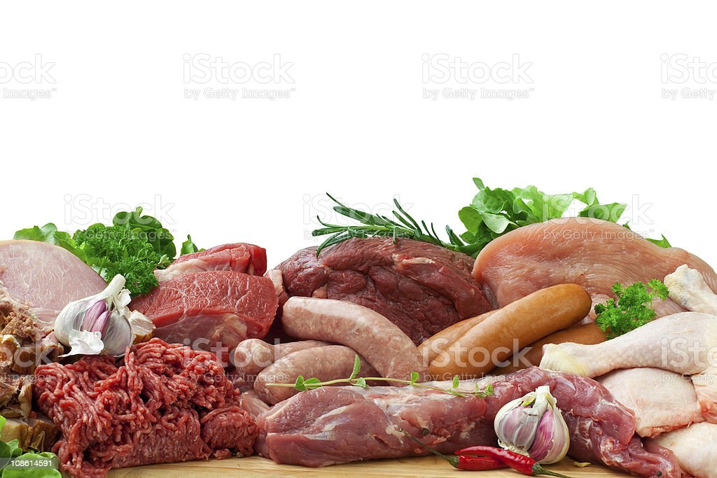 assorted raw meats royalty-free stock photo
