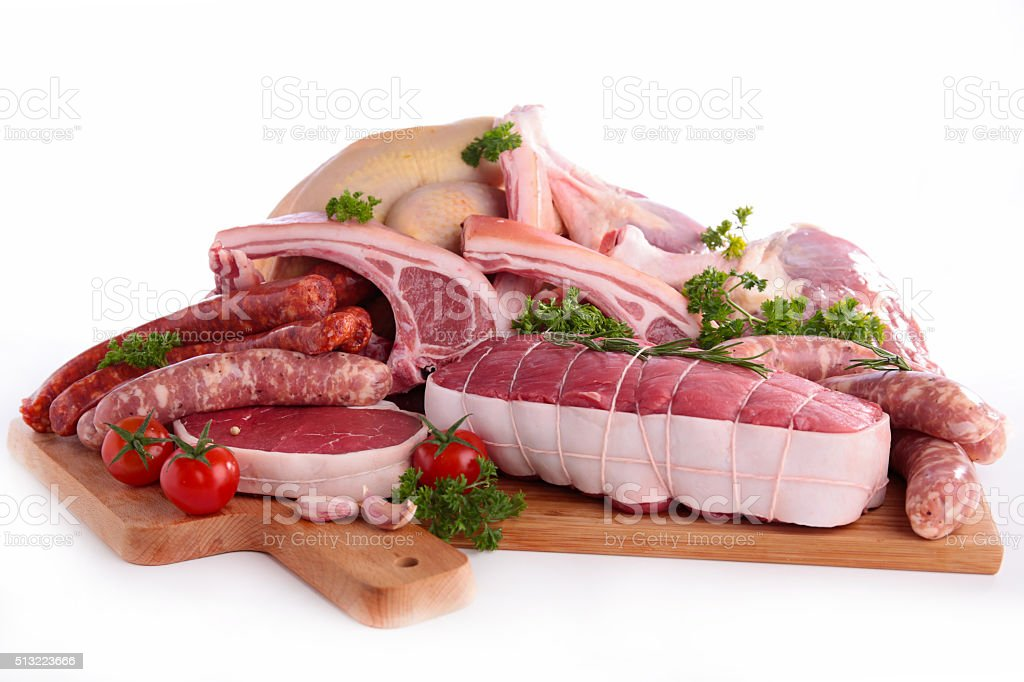 assorted raw meats stock photo