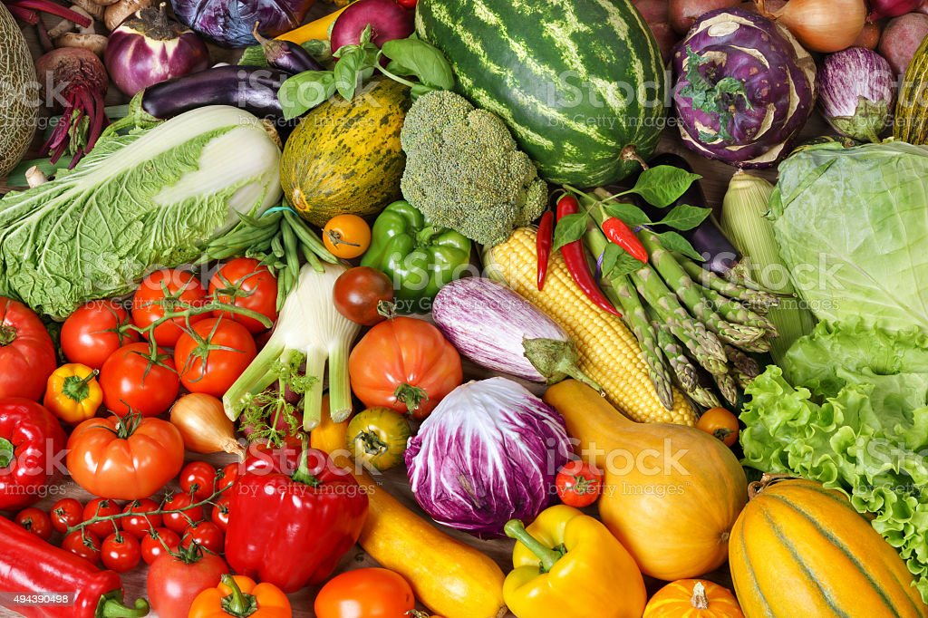 Assorted raw organic vegetables stock photo