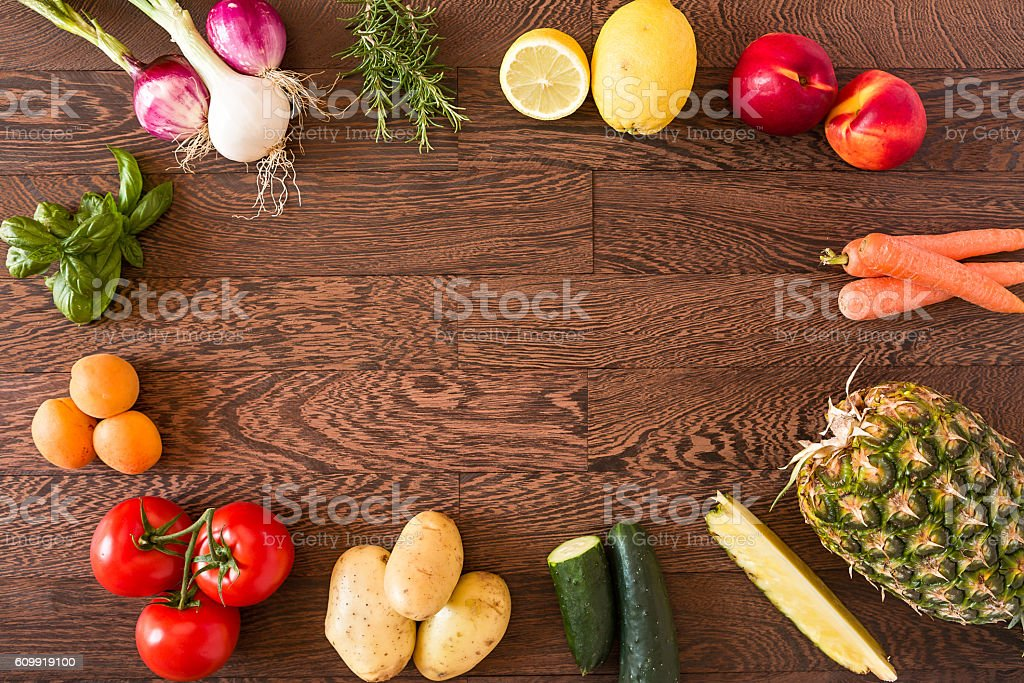 Assorted raw vegetables and fruits stock photo