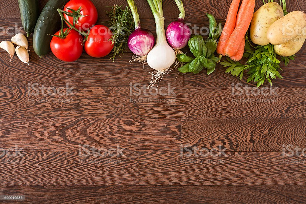 Assorted raw vegetables stock photo