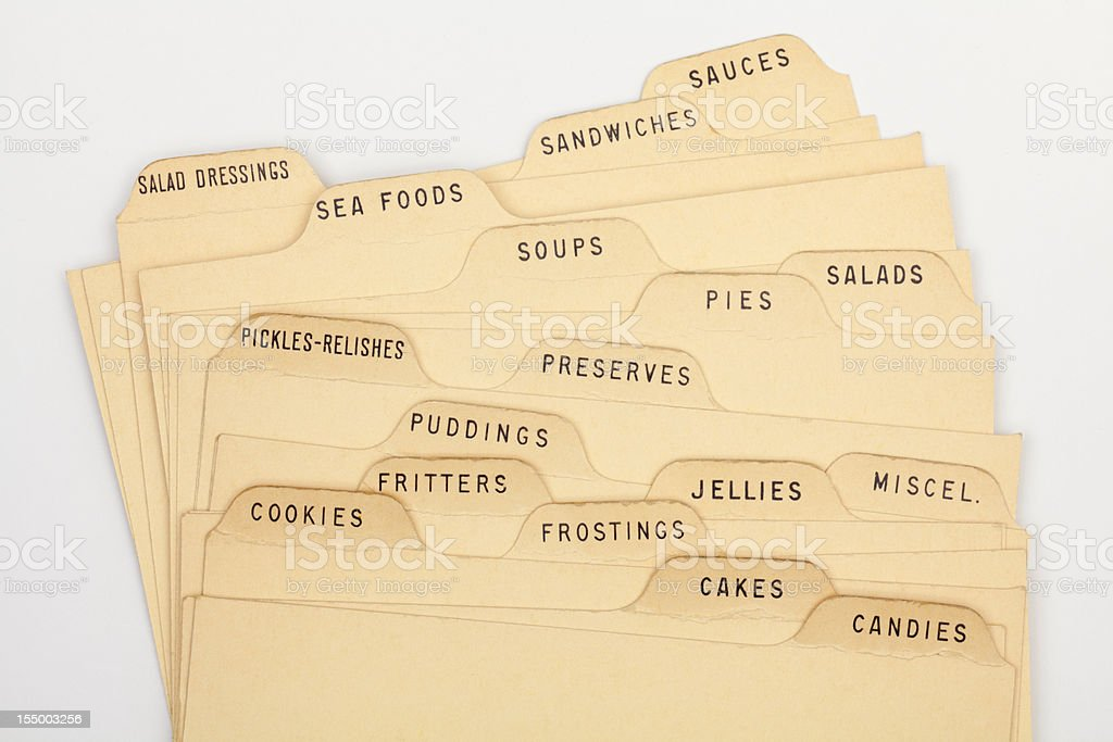 Assorted Recipe Index Cards, Vintage Typed Old Paper Cooking Background royalty-free stock photo