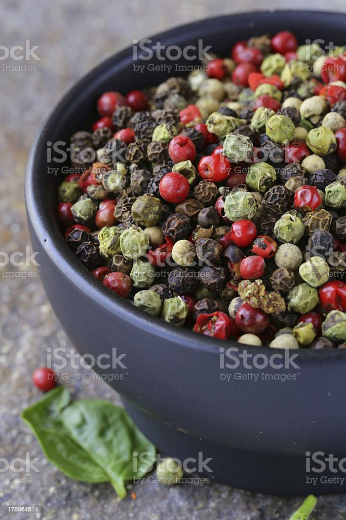 assorted red, black and green pepper royalty-free stock photo